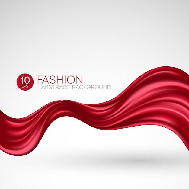 Красная летящая шелковая ткань. fashibackground Premium векторы