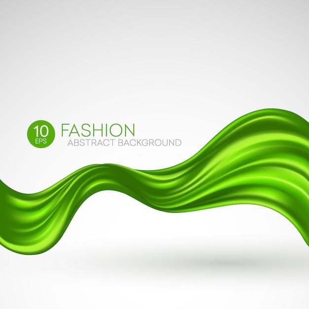 Зеленая летящая шелковая ткань. fashibackground Premium векторы