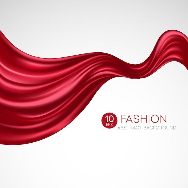 赤い空飛ぶシルク生地。 fashibackground Premiumベクター
