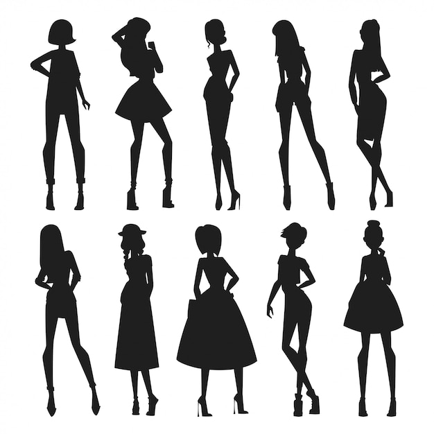 Fashion abstract vector girls looks black silhouette Premium Vector
