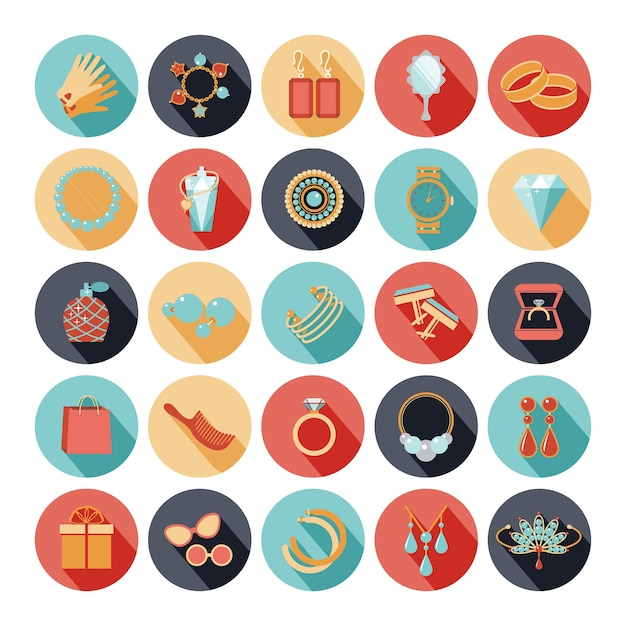 Fashion accessories flat icons set. diamond and gemstone, bracelet and brooch, perfume and emerald. vector illustration Free Vector