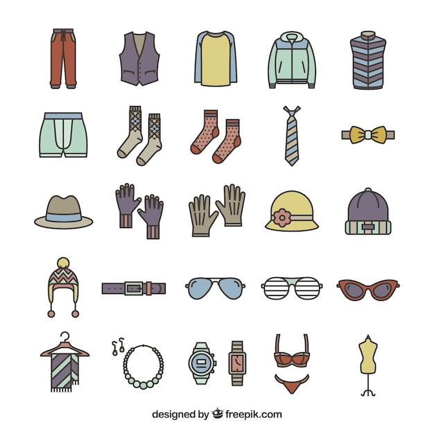 Fashion accessories icons Free Vector