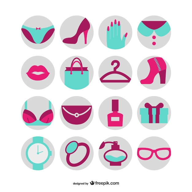 Fashion and beauty icons Free Vector