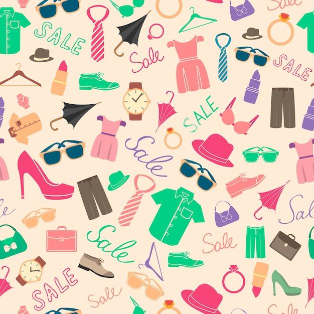 ファッションと服のアクセサリーのシームレスなパターン 無料ベクター