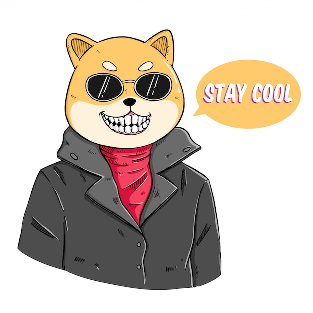 Fashion animal illustration of shiba inu dog dressed up in rider style with caption stay cool Premium Vector