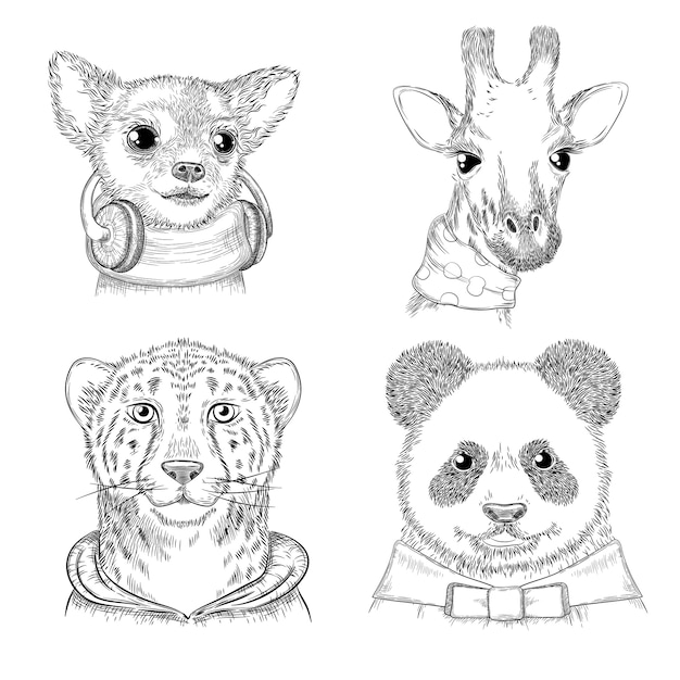Fashion animals. hand drawn hipster porterts in various funny clothes animals picture for adults Premium Vector