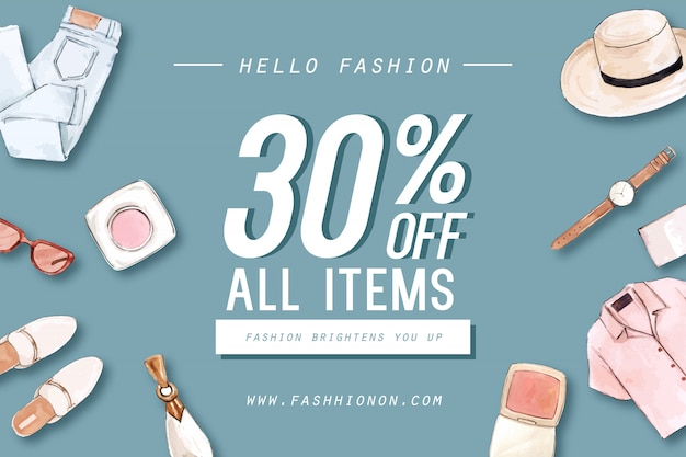 Fashion background with outfit and accessories Free Vector