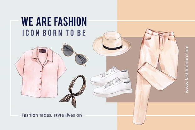 Fashion background with  shirt, sunglasses, pants, shoes Free Vector