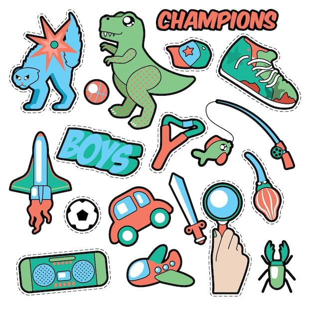 Модные значки, патчи, наклейки для мальчиков. игрушки, спорт, автомобиль и музыкальный рекордер в стиле комиксов. иллюстрация Premium векторы