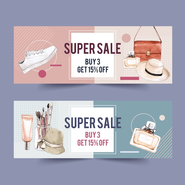 Fashion banner design with accessories and cosmetics Free Vector