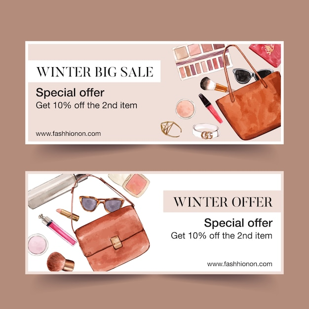 Fashion banner design with bags, cosmetics Free Vector