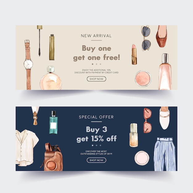Fashion banner design with cosmetic, outfit, accessories Free Vector