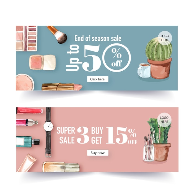 Fashion banner design with cosmetics and outfit Free Vector