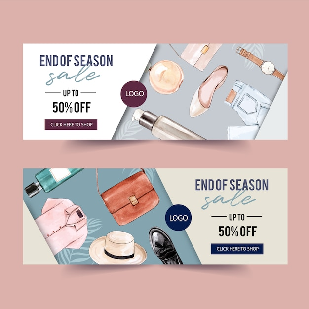 Fashion banner design with perfume, outfit, accessories Free Vector