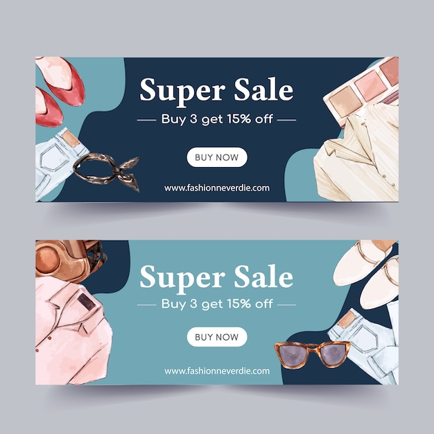 Fashion banner design with shoes, jeans, shirt, cosmetics Free Vector