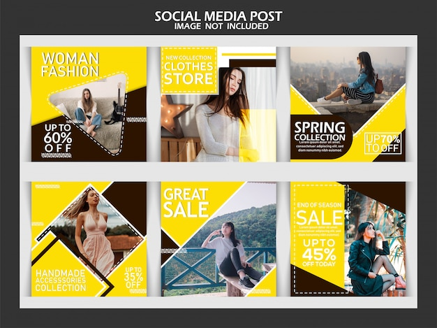 Fashion banner set for social media Premium Vector