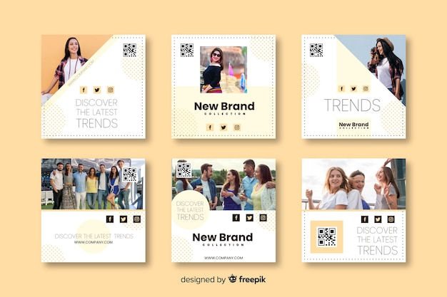 Fashion banner templates for social media Free Vector