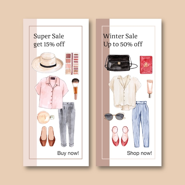 Fashion banner with outfit, cosmetic Free Vector