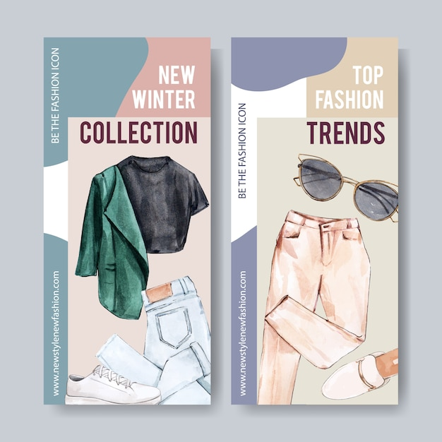 Fashion banner with shirt, pants, shoes Free Vector