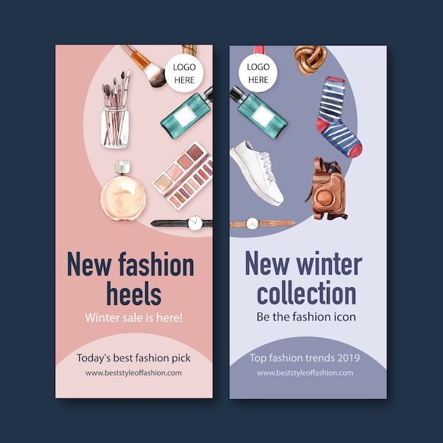 Fashion banner with watch, camera, cosmetics Free Vector