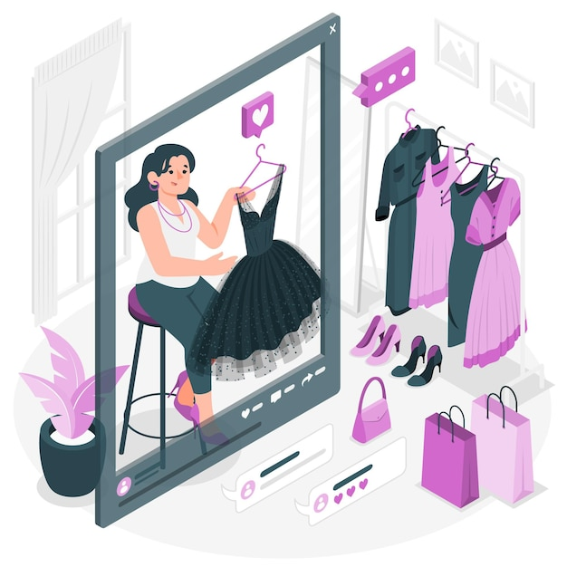 Illustrazione di concetto di fashion blogging Vettore gratuito