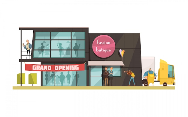 Fashion boutique building with grand opening symbols cartoon vector illustration Free Vector