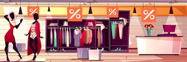 b4f4f543755 Fashion boutique interior illustration of women clothes and dresses sale.  Free Vector