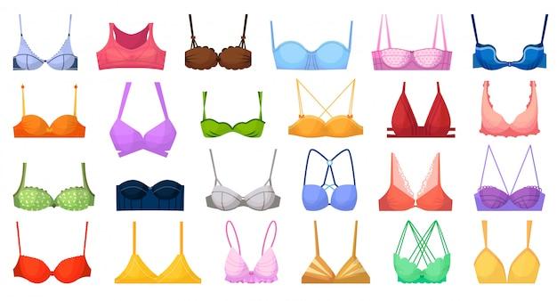 Fashion bra. bustier different type illustration. Premium Vector