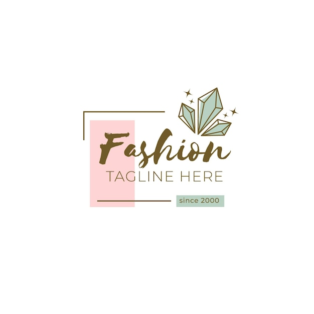 Fashion brand logo template with tagline Free Vector