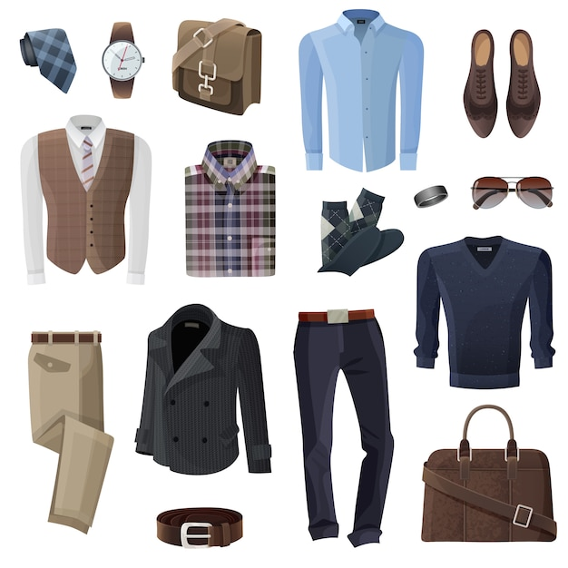 Fashion business man accessories set Free Vector