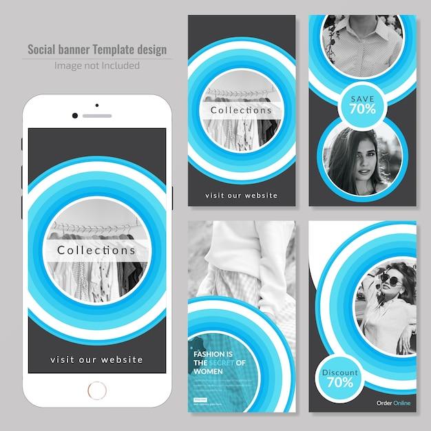 Fashion circle social media post template Premium Vector
