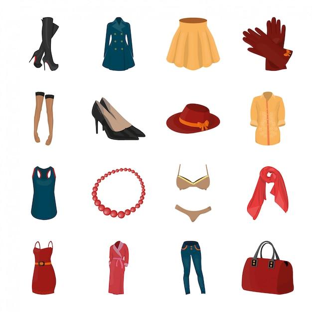 Fashion clothes cartoon set icon. illustration accessories  . isolated cartoon set icon fashion clothes . Premium Vector