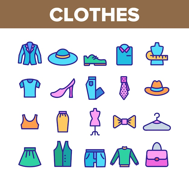 Fashion and clothes collection icons set Premium Vector