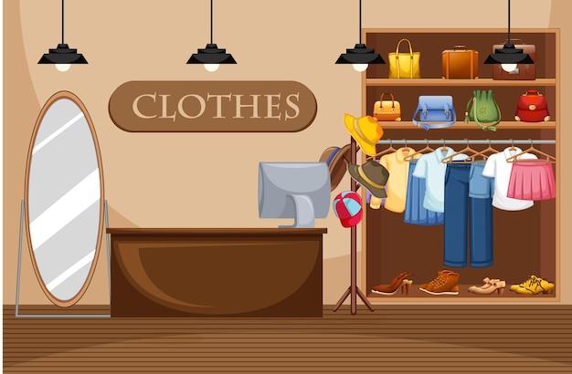Illustrazione del negozio di vestiti di moda Vettore gratuito