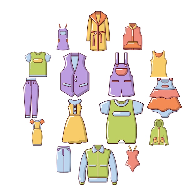 Fashion clothes wear icon set, cartoon style Premium Vector