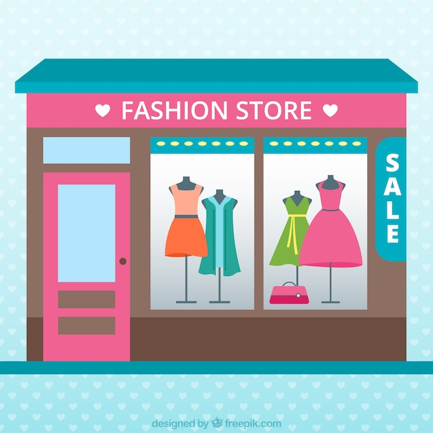 Fashion clothing store, full color