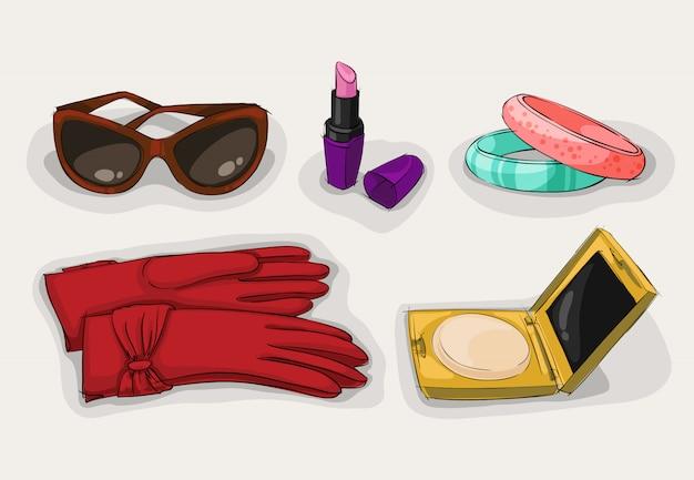 Fashion collection of classic women accessories Premium Vector