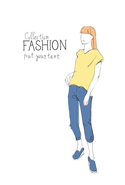 Fashion collection of clothes female model wearing trendy clothing Premium Vector