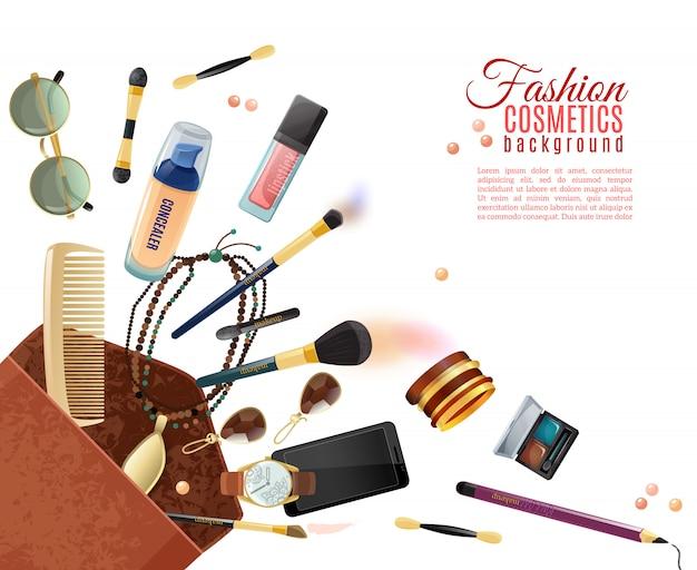 Fashion cosmetics background Free Vector