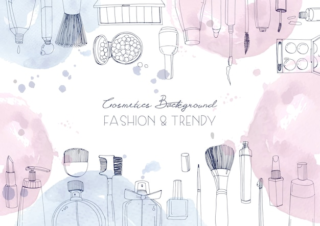 Fashion cosmetics horizontal background with make up artist objects and watercolor spots. hand drawn illustration with place for text. Premium Vector