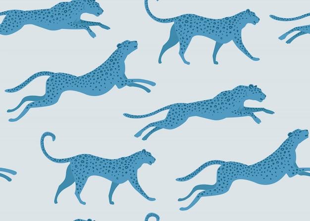 Fashion design leopard print of seamless pattern. Premium Vector
