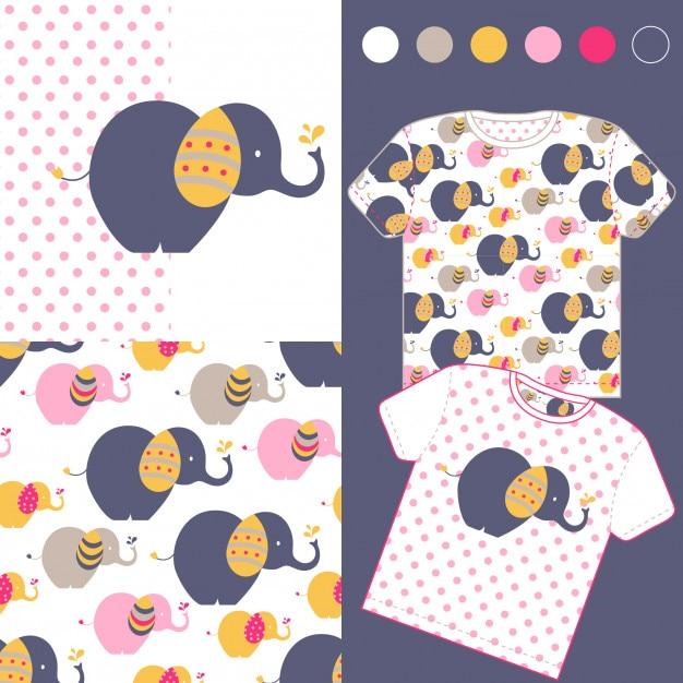 b3faebb35 Fashion design set for baby wear with cute elephant Vector