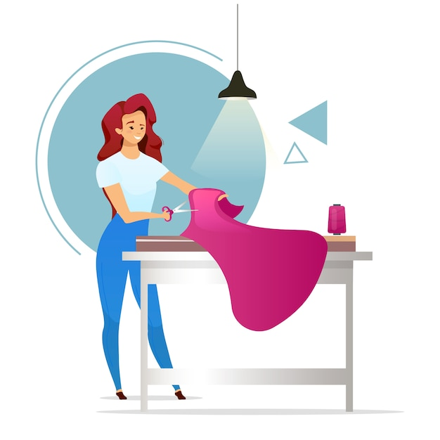 Fashion Designer Flat Color Illustration Atelier Female Tailor Woman Making Clothes Sewing Studio Girl Cutting Fabric Dressmaker Isolated Cartoon Character On White Background Premium Vector