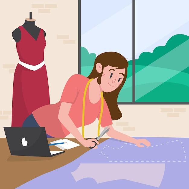 Иллюстрация модельера с женщиной, создающей одежду Бесплатные векторы