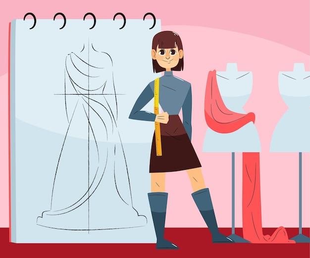 Illustrazione di stilista di moda con la donna in studio Vettore gratuito