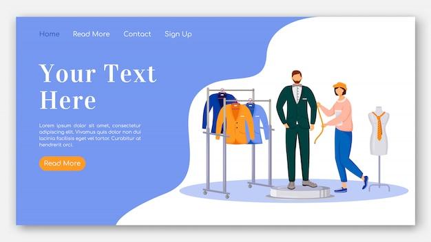 Модельер целевой страницы плоский цветной векторный шаблон. проведение измерений макета домашней страницы модели человека. дизайн одежды одностраничный интерфейс сайта с карикатурой Premium векторы