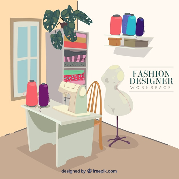 fashion designer workspace free vector