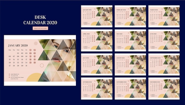 Fashion desk calendar new year Premium Vector