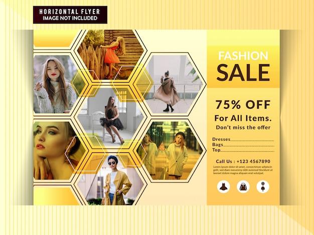 Fashion discount horizontal flyer template Premium Vector