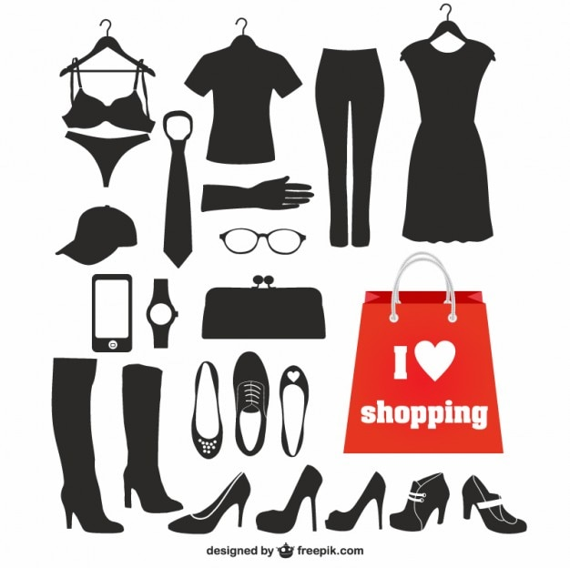 Fashion elements black silhouettes Free Vector